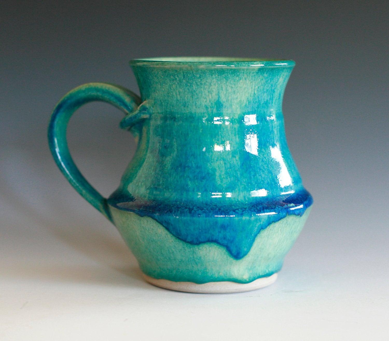 Turquoise Coffee Mug handmade ceramic cup ceramic stoneware