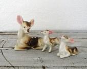 vintage ceramic doe and fawn trio