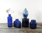 vintage bottles, cobalt blue