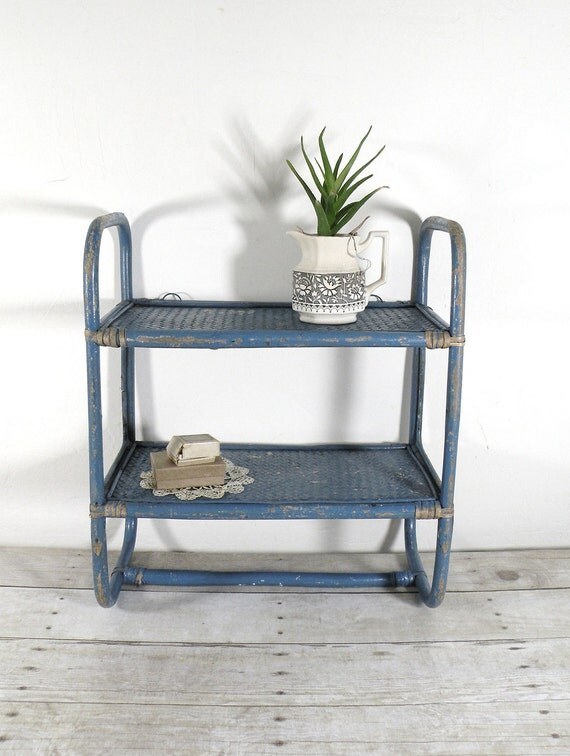vintage blue shelf