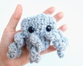 Resereved for Gretchen - gray octopus - plush finger puppet - safety eyes - crocheted - Ready Handmade by Tako Kids on Etsy