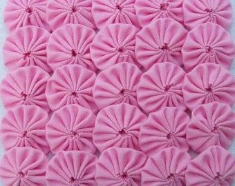 50 Bubble Gum Pink 1 inch Yo Yos Applique Quilt Pieces Scrapbooking Embellishments