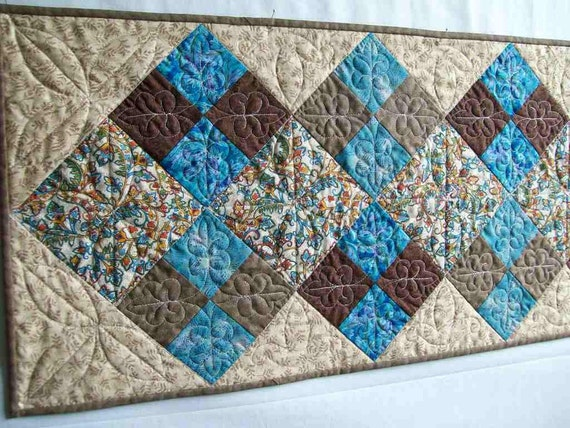 Brown and Turquoise Machine Quilted Patchwork Table Runner 17 x 42 inches