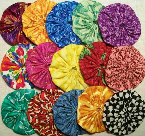 30 Colorful Mix Assorted 2 inch Fabric Yo Yos Applique Quilt Pieces Embellishment Set M6