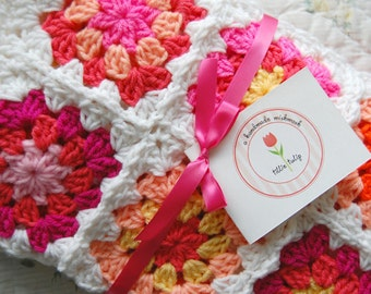 Custom Order - Bright Pink and Orange Patchwork Baby Granny Square Afghan Blanket Baby Shower Gift