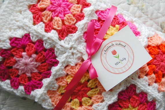 RESERVED Custom Order - Bright Pink and Orange Patchwork Baby Granny Square Afghan Blanket Baby Shower Gift