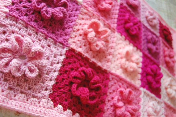 RESERVED Custom Order - Pink Flower Patchwork Baby Afghan - Baby shower gift - Gift for your little girl