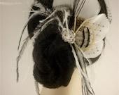 Bridal Feather Fascinator, Bridal Fascinator, Feather Fascinator, Fascinator, Bridal Headpiece, Bridal Veil, Wedding Veil, Ivory and Black