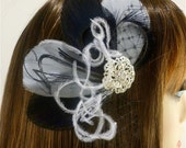Bridesmaid Hair Accessories Set of 6, Bridal Fascinator, Feather Fascinator, Bridesmaid, Black and Silver Gray, Custom colors available