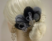 Bridesmaid Hair Accessories Set of 4 Bridesmaids Feather Fascinators , Bridal Fascinator, Black and Silver Gray, Custom Colors Available