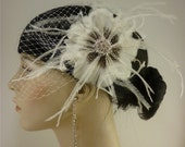 Bridal Feather Fascinator, Bridal Fascinator, Feather Fascinator, Fascinator, Feather Flower, Wedding Veil, Bridal Veil, Ivory or White