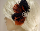 Bridesmaid Hair Accessories, Feather Fascinator, Feather Fascinator, Bridesmaid, Black and Red , Custom Colors Available