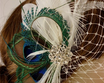 Bridal Feather Fascinator, Bridal Fascinator, Feather Fascinator, Fascinator, Wedding Veil, Bridal Headpiece, Bridal Veil