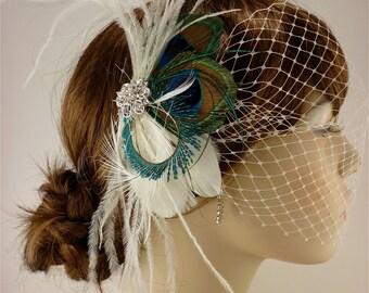 Wedding Bridal Fascinator, Bridal Fascinator, Feather Fascinator, Fascinator, Wedding Veil, Bridal Headpiece, Bridal Veil