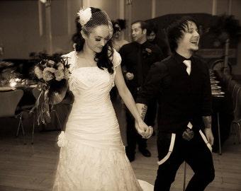 Hollywood Glam - Rhinestone Bridal Ivory Feather Fascinator, Rhinestone Hair Clip, Bridal Fascinator, Fascinator, Wedding Veil