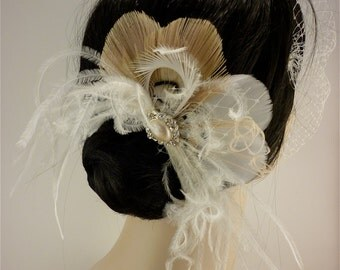 Bridal Feather Fascinator, Bridal Fascinator, Feather Fascinator, Fascinator, Bridal Headpiece, Bridal Veil, Wedding Veil