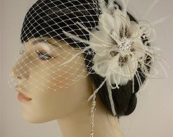 Feather Fascinator, Bridal Hair Flower, Bridal Fascinator, Wedding Hair Flower, Bridal Headpiece, 1920s Headpiece