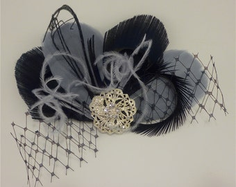 Bridal Hair Clip,  Feather Fascinator, Feather Fascinator, Fascinator, Bridesmaid, Black and Silver Gray