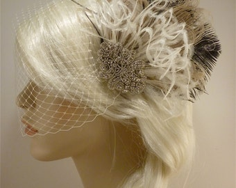 Hollywood Glitz  2-  Bridal Fascinator, Rhinestone Hair clip, Feather Fascinator, Bridal Veil, Wedding Veil, Ivory and Black