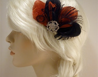 Fascinator, Wedding headpiece,Bridal Hair Clip,  Bridal Fascinator, Feather Fascinator, Bridesmaid, Black and Red , Custom Colors Available