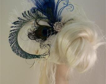 Fancy Peacock - Feather Bridal Fascinator, Feather Fascinator, Bridal Fascinator, Wedding Veil, Fascinator, Royal Blue Peacock