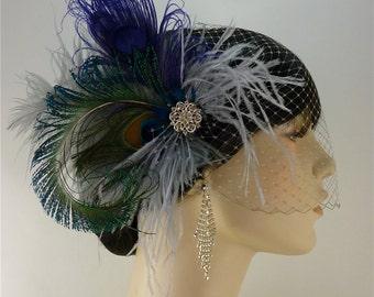 Purple Peacock Fascinator, Feather Bridal Fascinator, Bridal Fascinator, Speak Easy,Great Gatsby, Fascinator, Grey, Blue and Purple