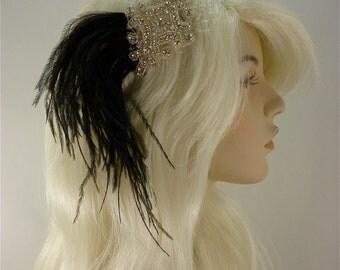 Wedding Headband, Bridal Hair Accessory, Rhinestone Bridal Tiara, Rhinestone Headband, Black and White, Hollywood Royalty