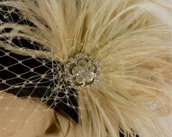 Bridal Hair Clip, Feather Wedding Head Piece, Feather Fascinator, Bridal Hair Accessories, Bridal Veil Set, Gatsby Wedding, Great Gatsby