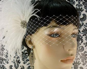 Bridal Feather Fascinator, Bridal Fascinator, Bridal Hair Accessories, Wedding Hair Accessories, Bridal Veil, Wedding Veil, Blindfold Veil