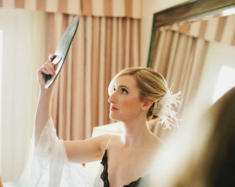Wedding Fascinator, Wedding Headpiece, Rhinestone Bridal Ivory Fascinator, Bridal Fascinator, Wedding Veil, Birdcage Veil, Gatsby Wedding