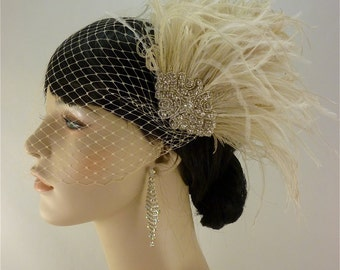 Hollywood Glitz - Rhinestone Bridal Feather Fascinator, Champagne Feather Fascinator, Bridal Headpiece, Wedding Hair Accessory, Wedding Veil