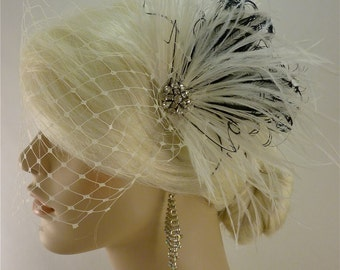 Bridal Feather Fascinator, Bridal Fascinator, Bridal Headpiece, Bridal Hair Accessories, Bridal Veil, White, Ivory and Black
