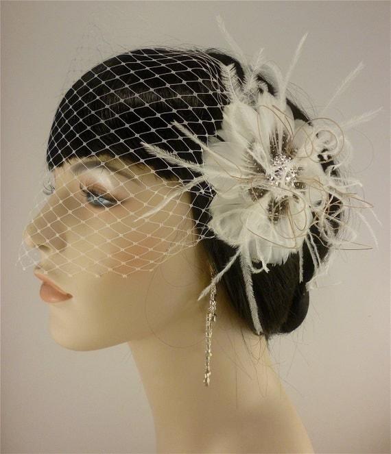 Bridal Feather Fascinator, Bridal Fascinator, Feather Fascinator, Fascinator, Hair Clip, Wedding Veil, Bridal Veil