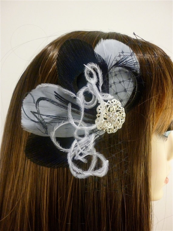 Bridesmaid Hair Accessories Set of 4 Bridesmaids Feather Fascinators ,Bridesmaid, Black and Silver Gray, Custom colors available