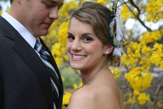 Wedding Hair Fascinator, Wedding Hair Clip, Fascinator, Peacock Hair Clip, Bridal Headpiece, Wedding Veil, Bridal Veil- Rock On x 2