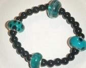 Teal and Black Polka Dotted Stretch Bracelet