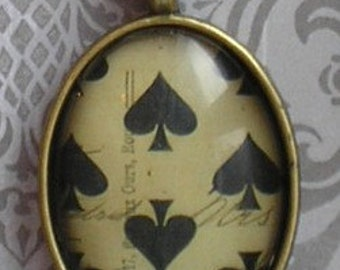 Vintage ephemera shabby chic spades pendant NECKLACE in ANTIQUE BRASS