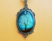 Sapphire Wind -- Wearable Art Cameo Necklace-art necklace