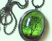 Emerald Bewitched -- Wearable Art tree Locket-Valentine's Gift