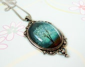 Sapphire Wind -- Large Wearable Art Cameo Necklace