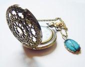 Sapphire Wind -- Charm -- Wearable Art Pocket watch necklace-Valentine's Gift