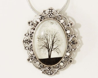 Serenity -- Wearable Art Cameo Necklace Christmas gift Winter Tree White