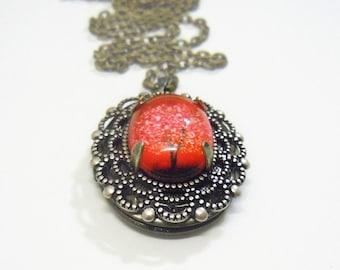 Ruby Sunset -- Small Wearable Art Locket--Valentine's Gift