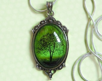 Emerald Bewitched -- Wearable Art Cameo Necklace-Valentine's Gift