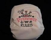 Princess embroidered cloth diaper