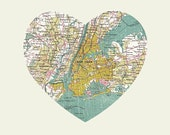 New York Art City Heart Map - 8x10 Art Print