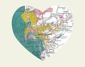 San Diego Art City Heart Map - 8x10 Art Print California