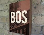 Boston BOS - Wood Block Art Print
