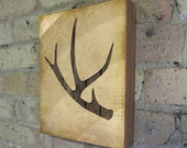 Deer Antler - Wood Block Art Print
