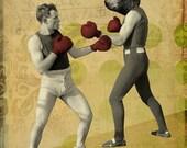 Boxing Poster - Boxing Art - Chuck Battles the Bear- 8x10 Art Print